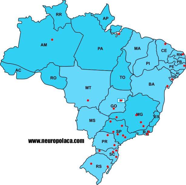 Distribuição das Residências Médicas  em Neurologia no Brasil, por estados e cidades
